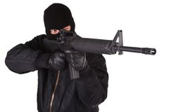 Robber with M16 rifle Stock Photos