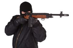 Robber with M14 rifle Royalty Free Stock Photography