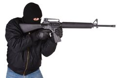 Robber with M16 rifle Stock Photography