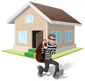Robber in mask carries bag. Thief robs house. Property insurance Stock Image