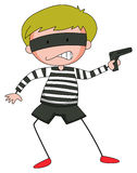 Robber with mask firing  gun. Illustration Royalty Free Stock Image