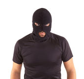 Robber with masked. Man in a mask on white background Royalty Free Stock Photos
