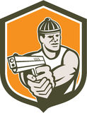 Robber Pointing Gun Shield Retro Royalty Free Stock Photo