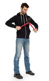 Robber with red bolt cutters. Isolated on white Royalty Free Stock Photos