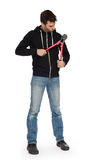 Robber with red bolt cutters. Isolated on white Stock Photo