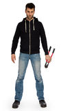 Robber with red bolt cutters. Isolated on white Royalty Free Stock Images