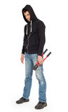 Robber with red bolt cutters. Isolated on white Stock Photos