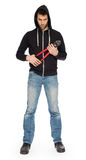 Robber with red bolt cutters Stock Images