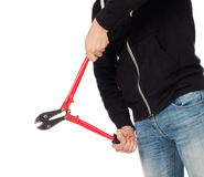Robber with red bolt cutters Stock Image