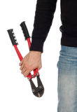Robber with red bolt cutters Royalty Free Stock Image