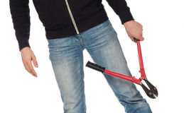 Robber with red bolt cutters Royalty Free Stock Images