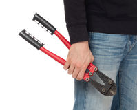 Robber with red bolt cutters Royalty Free Stock Photo