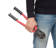 Robber with red bolt cutters Stock Photo
