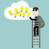 The robber stolen the idea on the cloud. Concept stock illustration