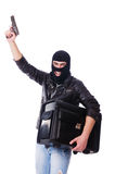 Robber with stolen suitcase Royalty Free Stock Photos