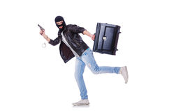 Robber with stolen suitcase Stock Images