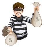 A robber with two sacks of cash Royalty Free Stock Photos