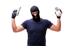The robber wearing balaclava isolated on white Royalty Free Stock Photo