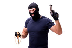 The robber wearing balaclava isolated on white Stock Images