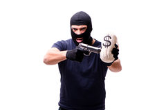 The robber wearing balaclava isolated on white Stock Photography