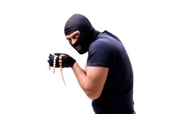 The robber wearing balaclava isolated on white Stock Image