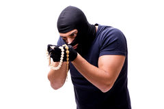 The robber wearing balaclava isolated on white Royalty Free Stock Photos
