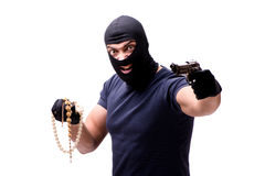 The robber wearing balaclava isolated on white Royalty Free Stock Image