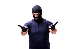 The robber wearing balaclava isolated on white Royalty Free Stock Images