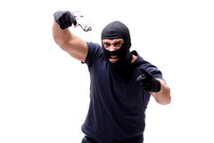 The robber wearing balaclava isolated on white. Robber wearing balaclava isolated on white Stock Images