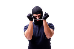 The robber wearing balaclava isolated on white Stock Photos