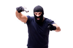 The robber wearing balaclava isolated on white. Robber wearing balaclava isolated on white Stock Photos