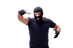The robber wearing balaclava isolated on white. Robber wearing balaclava isolated on white Stock Photography