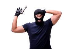 The robber wearing balaclava isolated on white. Robber wearing balaclava isolated on white Royalty Free Stock Photo