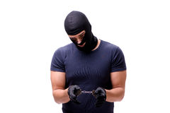 The robber wearing balaclava isolated on white Royalty Free Stock Photography