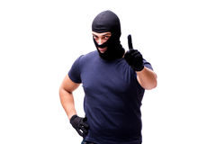 The robber wearing balaclava isolated on white Stock Photo