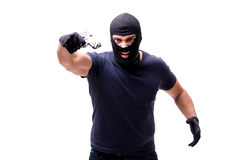 The robber wearing balaclava isolated on white. Robber wearing balaclava isolated on white Stock Image