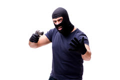 The robber wearing balaclava isolated on white. Robber wearing balaclava isolated on white Royalty Free Stock Photography