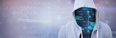 Composite image of robber wearing gray hoodie. Robber wearing gray hoodie against gray and purple background Stock Photo
