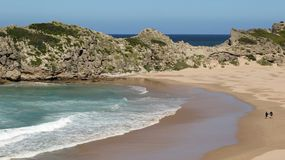 Sandy cove on the Robberg Peninsula. Robberg, situated 8km south of Plettenberg Bay on the Garden Route, is not only a nature reserve, but also a national stock photography