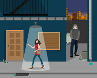 Robbery in the alley Royalty Free Stock Images