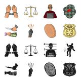 Robbery attack, fingerprint, police officer badge, pickpockets.Crime set collection icons in black,cartoon style vector. Symbol stock illustration Royalty Free Stock Photography