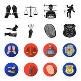 Robbery attack, fingerprint, police officer badge, pickpockets.Crime set collection icons in black,flet style vector. Symbol stock illustration Stock Photography