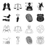Robbery attack, fingerprint, police officer badge, pickpockets.Crime set collection icons in black,outline style vector. Symbol stock illustration Royalty Free Stock Photos