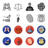 Robbery attack, fingerprint, police officer badge, pickpockets.Crime set collection icons in monochrome,flat style. Vector symbol stock illustration Stock Image