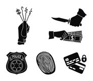Robbery attack, fingerprint, police officer`s badge, pickpockets.Crime set collection icons in black style vector symbol. Stock illustration Royalty Free Stock Photo