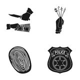 Robbery attack, fingerprint, police officer`s badge, pickpockets.Crime set collection icons in black style vector symbol Royalty Free Stock Images