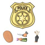 Robbery attack, fingerprint, police officer`s badge, pickpockets.Crime set collection icons in cartoon style vector Stock Photography