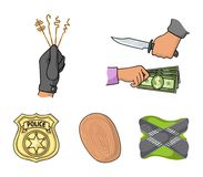 Robbery attack, fingerprint, police officer`s badge, pickpockets.Crime set collection icons in cartoon style vector. Symbol stock illustration Stock Photo