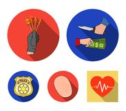 Robbery attack, fingerprint, police officer`s badge, pickpockets.Crime set collection icons in flat style vector symbol. Stock illustration Stock Photo