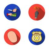 Robbery attack, fingerprint, police officer`s badge, pickpockets.Crime set collection icons in flat style vector symbol Stock Image